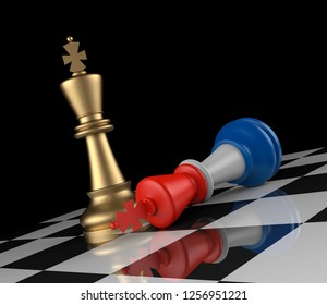 Chess: French Flag Colorerd King Down. 3D Rendering