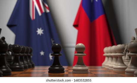 Chess game against flags of Australia and Taiwan. Political competition related 3D rendering