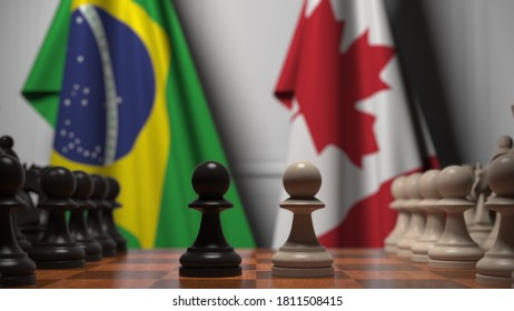 Chess game against flags of brazil and canada. political competition related  3D rendering