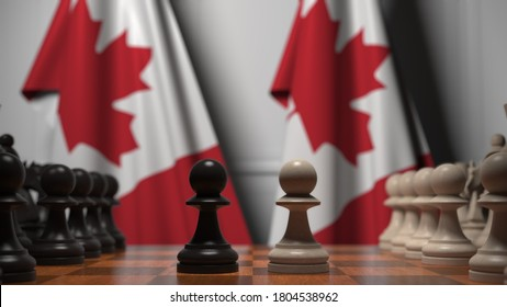 Chess game against flags of canada. political competition related  3D rendering