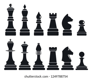 Chess game icon set. Simple set of chess game icons for web design on white background