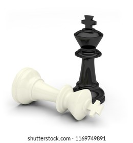 chess game king black white victory defeat 3D illustration