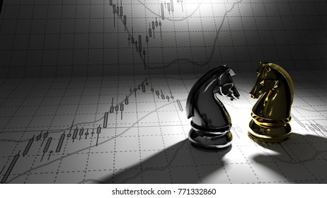 Chess horse golden and silver 3D illustration candlestick graph stock market gold stock exchange graph and financial investor money background investment and money chart indicator copy space minimal