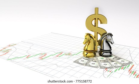 Chess horse symbol gold dollar money and gold make Profit ,investment stock market candlestick graph 3D Illustration money chart indicator copy space minimal concept financial profit background