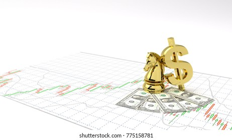 Chess horse symbol gold dollar money and gold make Profit ,investment stock market candlestick graph 3D Illustration money chart indicator copy space minimal concept financial money background