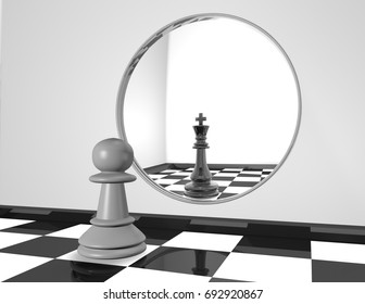 Chess pawn looking in mirror, strength and ambition abstract concept black and white 3D illustration.