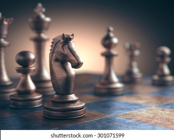 Chess piece in focus on the board.