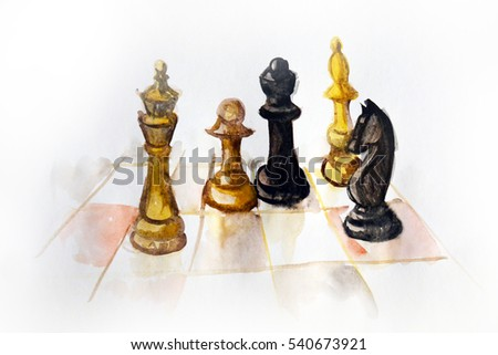 Chess pieces, colorful watercolor painting