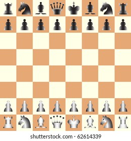 chess pieces and game board, abstract art illustration; for vector format please visit my gallery