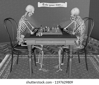 Chess players taking their time  for Halloween, two skeletons with chessboard, 3D rendering
