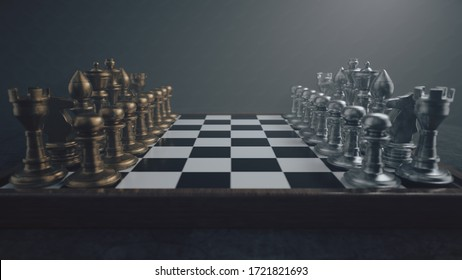 Chess ready to play. Metal material figures. Volumetric lighting and depth of field 3d illustration