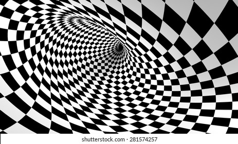 Chess twisted tunnel, three-dimensional space, blank for text