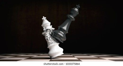 Chess victory for black. White chess king broken by the black king on a chessboard. 3d illustration