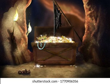 Pirate's chest in the dark cave with flag and crab