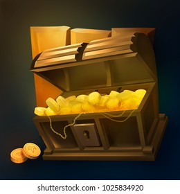 Chest filled with coins illustration