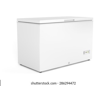Chest freezer on white background