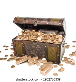 chest full of gold coins on a white background. 3d render