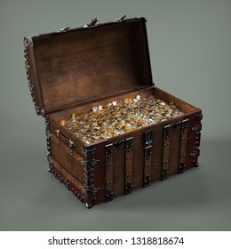 Chest of gold coins. 3d illustration