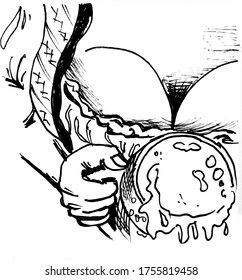 The waitress's chest and a large mug of beer with foam. Black and white illustration