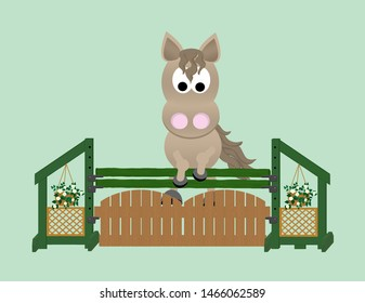 Chestnut coloured horse jumping over a green and brown gate show jump with decorative hanging flowers and trellis as jump standards.