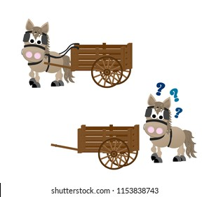 "Chestnut horse pulling a brown wooden cart. ""Put the horse before the cart"""