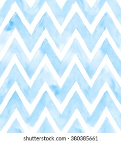 Chevron of blue color on white background. Watercolor seamless pattern for fabric