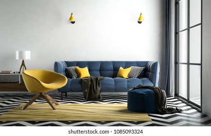 Chevron interior living room, chevron floor black-white, with loose sofa & furniture blue-yellow, 3D rendering, 3D illustration