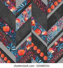 Chevron pattern with watercolor flowers. Background with hand painted floral elements and grunge texture. Monochrome colored pattern
