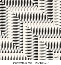 Chevron seamless pattern. Raster geometric halftone texture with small lines, fading stripes, zigzag. Gradient transition effect from black to white. Sport style background. Modern monochrome design