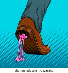 Chewing gum stuck to the shoe pop art style raster illustration. Comic book style imitation