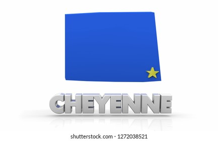 Cheyenne Wyoming WY City State Map 3d Illustration