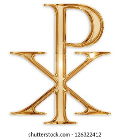 chi rho christian symbol isolated on white background