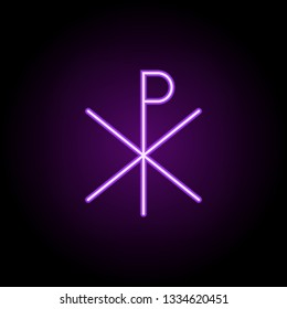 Chi rho outline icon. Elements of religion in neon style icons. Simple icon for websites, web design, mobile app, info graphics