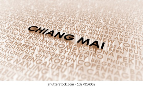 Chiang Mai lettering, 3d illustration of world's cities.
