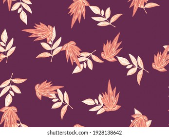 Chic Leaves Backgrounds. Leaves Seamless. Yellow Pattern. Tropical Leaf On White. Vintage Leaf Seamless. Leaf Fabric. Brown Tropical Pattern Hand Drawn.