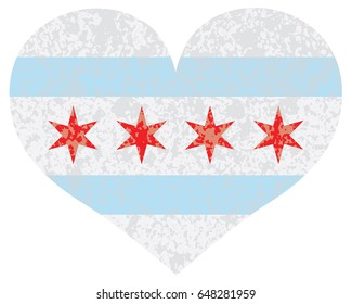 Chicago City Heart Shape Outline Silhouette with Texture Isolated on White Background raster Illustration