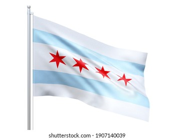 Chicago (city in Illinois state) flag waving on white background, close up, isolated. 3D render