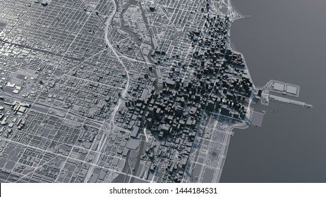 Chicago city map. 3d map of Chicago city. 3d illustration