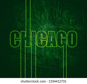 Chicago city name in geometry style design. Creative vintage typography poster concept.