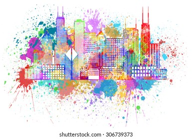 Chicago City Skyline Panorama Color Outline Silhouette with Paint Splatter Isolated on White Background Illustration
