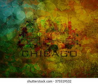 Chicago City Skyline Panorama Color Outline Silhouette with Paint Splatter on Grunge Texture Background Illustration