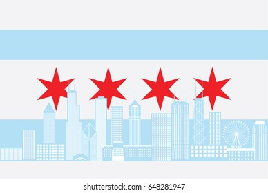 Chicago City Skyline Panorama Color Outline Silhouette with City Flag Isolated on White Background raster Illustration