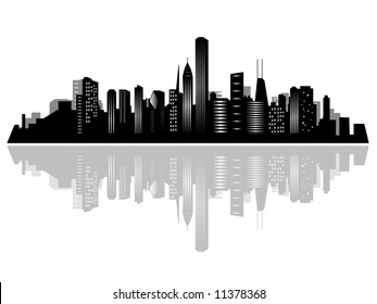 Chicago city skyline and its reflection on water