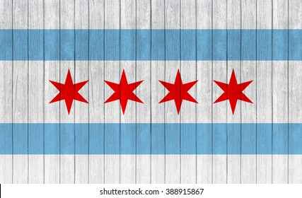 Chicago flag on wood texture background
