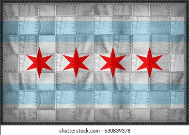 Chicago flag pattern on synthetic leather texture, 3d illustration style