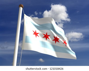Chicago flag USA (isolated with clipping path)