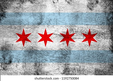 Chicago grunge and dirty flag illustration. Perfect for background or texture purposes.