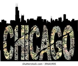 Chicago grunge dollar text with skyline illustration
