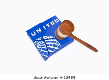 CHICAGO, IL - 22 APR 2017: Collapsed plate with UNITED AIRLINES logo and a judge's hammer (Gavel). United Airlines faces major backlash after man dragged off plane. 3D Illustration.