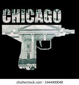 Chicago Illinois, Gun and Money, Black Background.